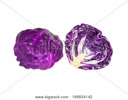 Fresh ripe bright Red Cabbages, one whole and one cut in half isolated on white background