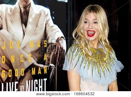 Sienna Miller at the Los Angeles premiere of 'Live By Night' held at the TCL Chinese Theatre in Hollywood, USA on January 9, 2017.