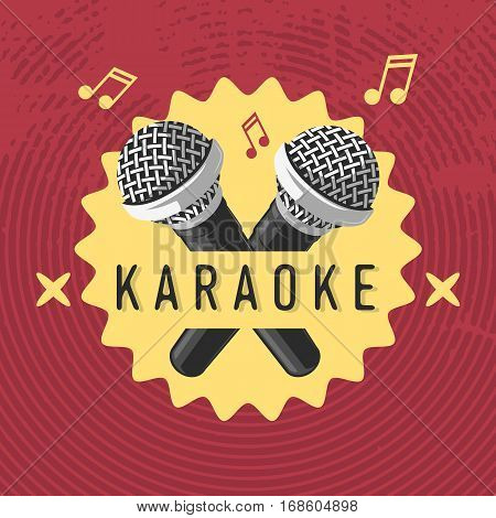 Karaoke Label Sign Design With Microphone Illustrations On A Halftone Background. Vector Image.