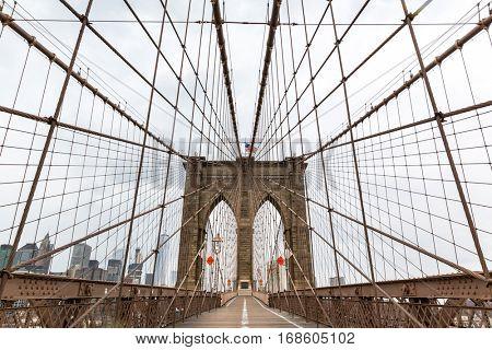 Brooklyn Bridge, nobody, New York City USA