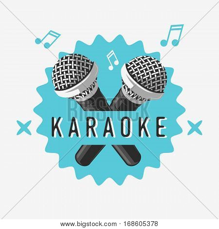 Karaoke Label Sign Design With Microphone Illustrations On A White Background. Vector Image.