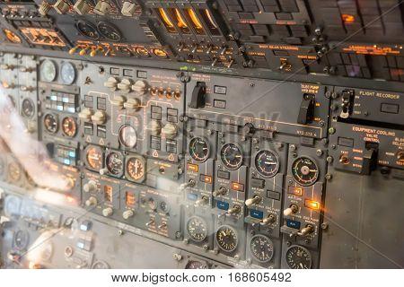 Avionics dashboard inside plane.