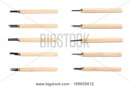 Hand carving wood chisel tools isolated over the white background, set of multiple different foreshortenings