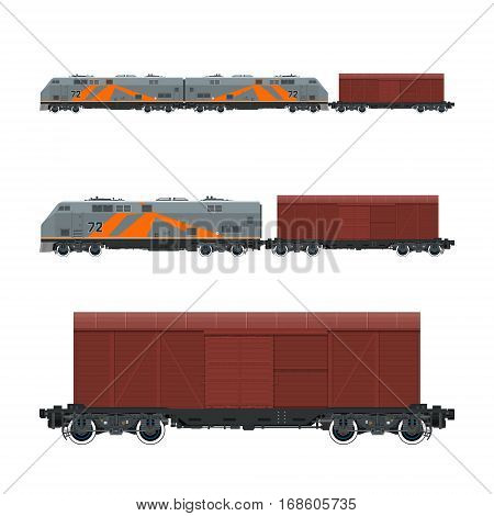 Locomotive with Closed Wagon ,Train ,Railway and Cargo Transport, Vector Illustration