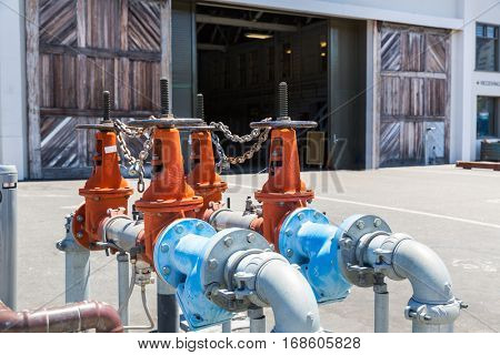 Pipelines, water pump and valves in dock