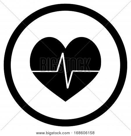 Pulse black icon vector. Healthy monitor cardiology illustration