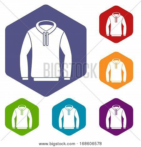 Hoody icons set rhombus in different colors isolated on white background