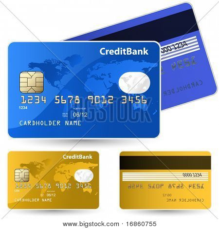 Set of credit cards. Highly detailed vector