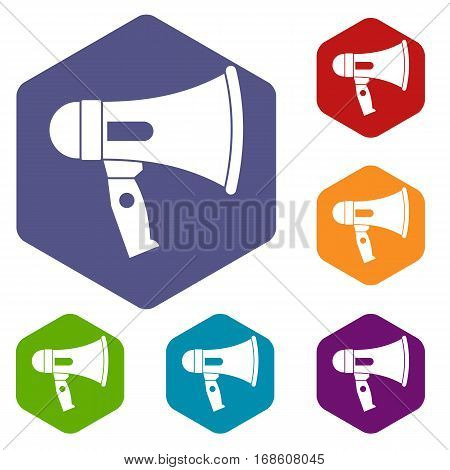 Mouthpiece icons set rhombus in different colors isolated on white background