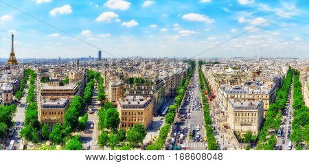 Paris, France- July 06, 2016 :beautiful Panoramic View Of Paris From The Roof Of The Triumphal Arch.