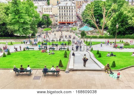 Paris, France - July 04, 2016 :view Of Paris From Montmartre Area Hill With Tourist Near.  France.