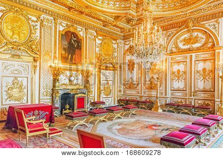 Fontainebleau, France - July 09, 2016 : Fontainebleau Palace Interiors. The Throne Room. Chateau Was