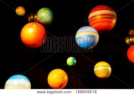 Planetary model on black background