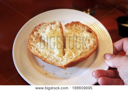 A piece of bread in the form of heart