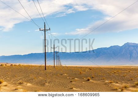 Power line in desert at Death Valley