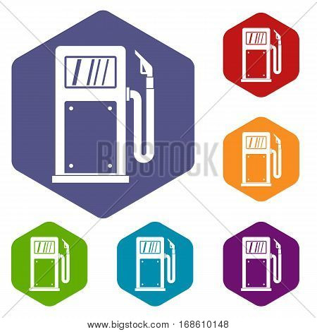 Gasoline pump icons set rhombus in different colors isolated on white background