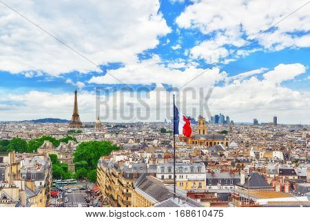 Paris, France - July 05, 2016 : Beautiful Panoramic View Of Paris From The Roof Of The Pantheon. Vie