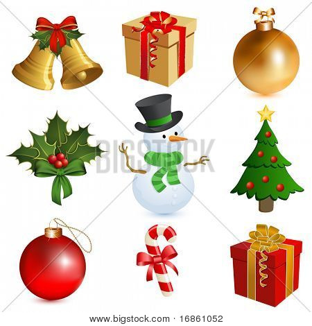 Christmas icon set - Bells, Gifts, Holly, Snowman, Candy Cane, Christmas Tree