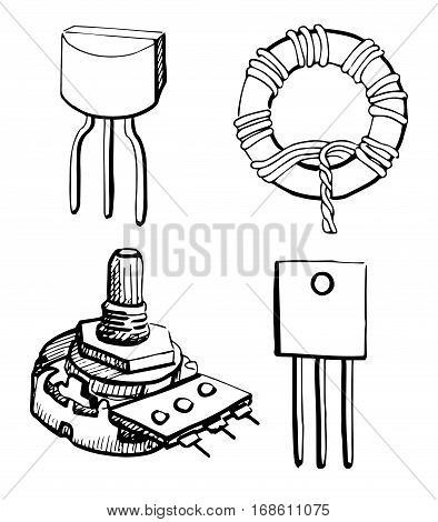 Set Electronic components: potentiometer transistor inductor isolated on white background. Vector illustration in a sketch style.