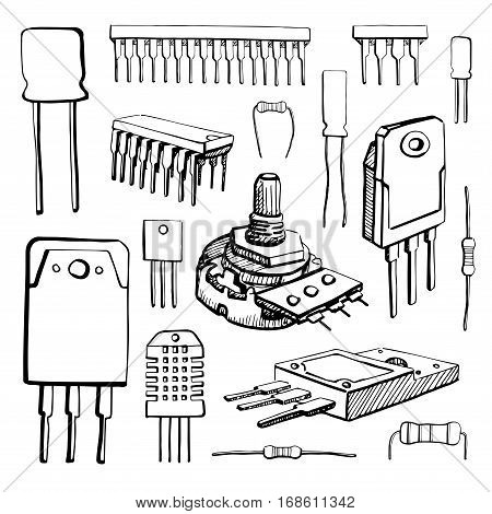 Electronic components: microcontroller capacitor potentiometer transistor resistor sensor diode isolated on white background. Vector illustration in a sketch style.
