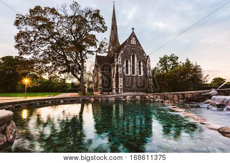 Gefion Fountain and St. Alban's Church in Copenhagen, Denmark. Anglican church of Saint Alban and Gefion fountain in Danish capital.