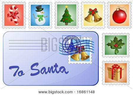 Christmas postcard and stamps. Mail for Santa and Christmas postage stamps.