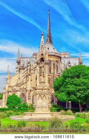 Paris, France - July 08, 2016 : Notre Dame De Paris Cathedral, Most Beautiful Cathedral In Paris. Ea
