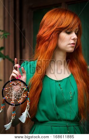 Young Beautiful Red Hair Woman Posing