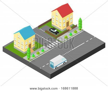 Isometric house. Two houses on the same street. Sidewalk with trees the road the car. The yard is fenced with a wooden fence