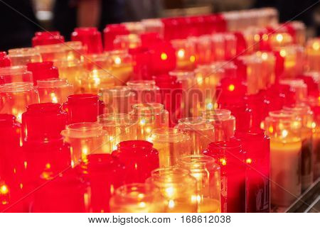Church Burning Candles In Glass Candlesticks In The Cathedral.