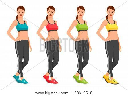 fit young woman in sportswear. Sport outfit young woman vector illustration