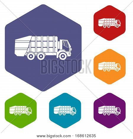 Garbage truck icons set rhombus in different colors isolated on white background