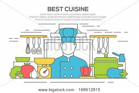 best cuisine concept illustration. Chief cook man in cooks uniform. Professional cooking. Restaurant service. Thin line flat design