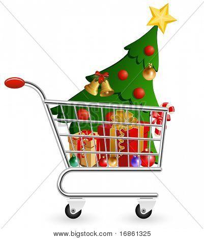 Vektor-Illustration von Einkaufswagen voller Dekoration und Weihnachtsbaum