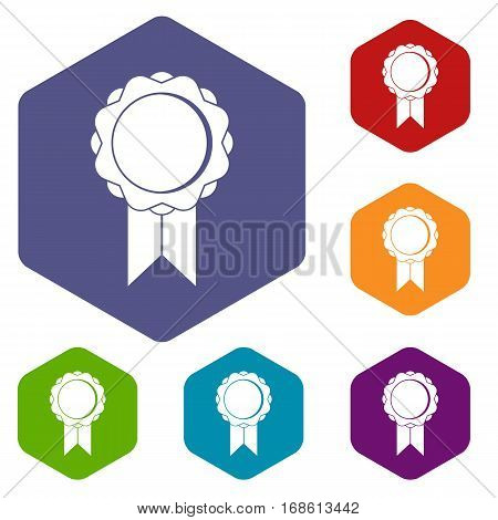 Rosette with ribbon icons set rhombus in different colors isolated on white background