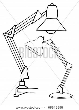 Two reading lamps isolated on white background. Vector illustration in a sketch style