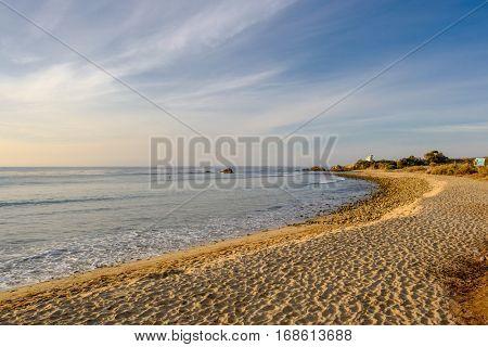 USA Pacific coast landscape, Leo Carrillo State Beach, Malibu, California.