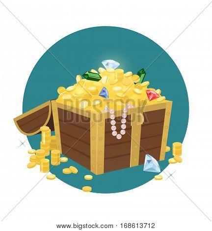 Vector illustration of an open treasure chest full of gold