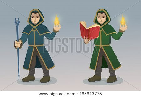 Illustration of Magician With Magic Wand and Book