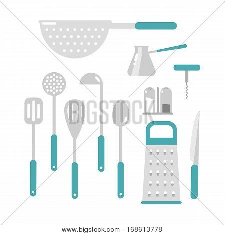 Set of cooking metal ladle. Kitchenware utensil tool domestic steel or stainless equipment. Food preparation culinary handle appliance flat vector illustration.