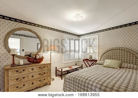 Cozy Bedroom Design In Grey Tones Features Beige Grass Papered Walls