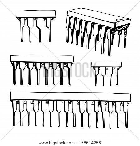 Microcontroller electronic component isolated on white background. Vector illustration in a sketch style.