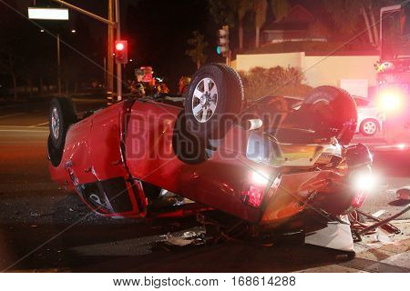 Lake Forest, California - JANUARY 15, 2017: Lake Forest - Battalion 4 units handled a traffic collision cut and rescue. 3 patients escorted to Mission Hospital for traumatic injuries.