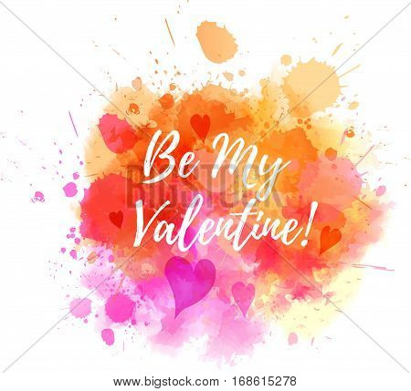 Watercolor imitation splash background with Valentine day message and hearts. Orange and pink colored.