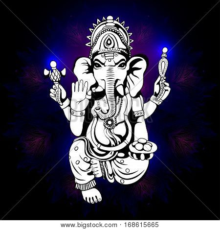 Lord Ganesha sketch on a background. Vector EPS 10