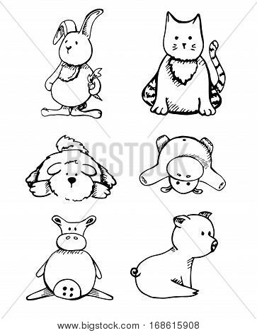 Set of different animals isolation on a white background. Vector illustration in a sketch style