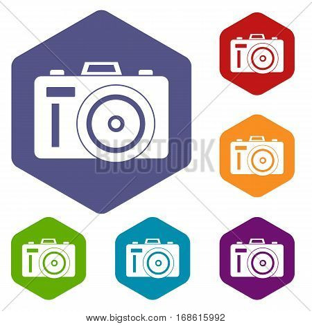 Photocamera icons set rhombus in different colors isolated on white background