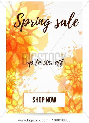 Spring sale banner in orange color with abstract flowers. For mobile website promotion ads and newsletter.