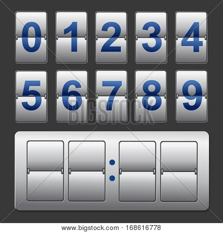 Countdown timer, white color mechanical scoreboard with different numbers vector
