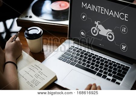 Motor Service Maintenance Motorbike Concept